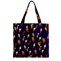 Seamless Cartoon Ice Cream And Lolly Pop Tilable Design Zipper Grocery Tote Bag