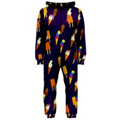 Seamless Cartoon Ice Cream And Lolly Pop Tilable Design Hooded Jumpsuit (ladies)