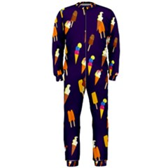 Seamless Cartoon Ice Cream And Lolly Pop Tilable Design Onepiece Jumpsuit (men)