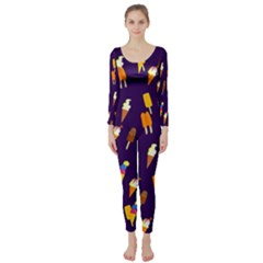 Seamless Cartoon Ice Cream And Lolly Pop Tilable Design Long Sleeve Catsuit