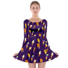 Seamless Cartoon Ice Cream And Lolly Pop Tilable Design Long Sleeve Skater Dress