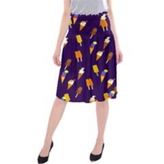 Seamless Cartoon Ice Cream And Lolly Pop Tilable Design Midi Beach Skirt
