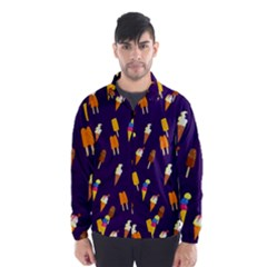 Seamless Cartoon Ice Cream And Lolly Pop Tilable Design Wind Breaker (Men)