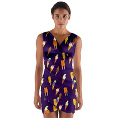 Seamless Cartoon Ice Cream And Lolly Pop Tilable Design Wrap Front Bodycon Dress