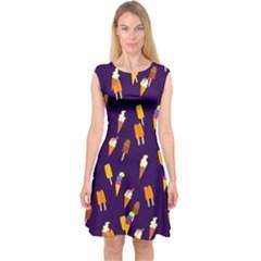 Seamless Cartoon Ice Cream And Lolly Pop Tilable Design Capsleeve Midi Dress