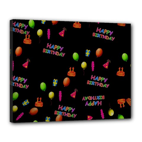 Cartoon Birthday Tilable Design Canvas 20  x 16