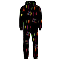 Cartoon Birthday Tilable Design Hooded Jumpsuit (men)