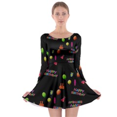 Cartoon Birthday Tilable Design Long Sleeve Skater Dress
