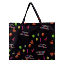 Cartoon Birthday Tilable Design Zipper Large Tote Bag