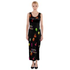Cartoon Birthday Tilable Design Fitted Maxi Dress
