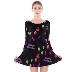 Cartoon Birthday Tilable Design Long Sleeve Velvet Skater Dress