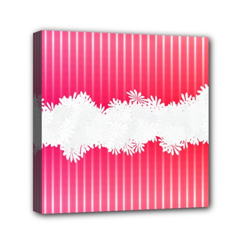 Digitally Designed Pink Stripe Background With Flowers And White Copyspace Mini Canvas 6  x 6