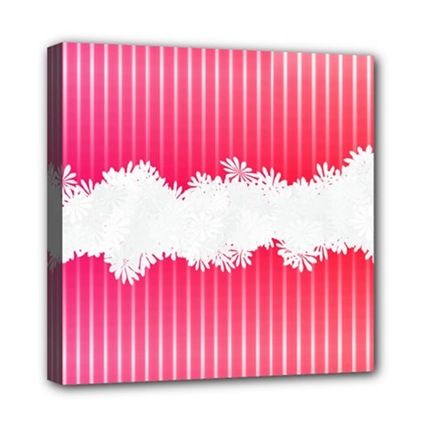 Digitally Designed Pink Stripe Background With Flowers And White Copyspace Mini Canvas 8  x 8