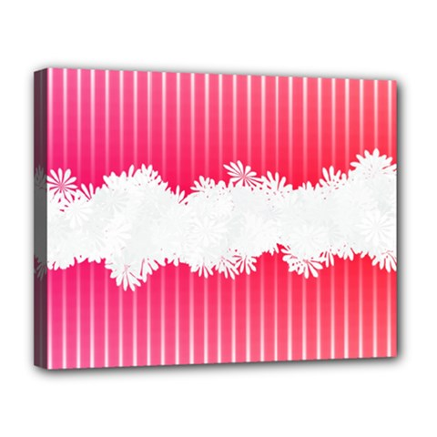Digitally Designed Pink Stripe Background With Flowers And White Copyspace Canvas 14  x 11