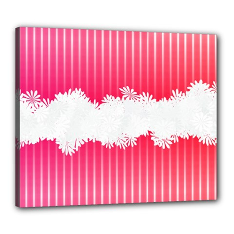 Digitally Designed Pink Stripe Background With Flowers And White Copyspace Canvas 24  x 20