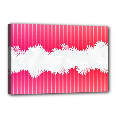 Digitally Designed Pink Stripe Background With Flowers And White Copyspace Canvas 18  x 12
