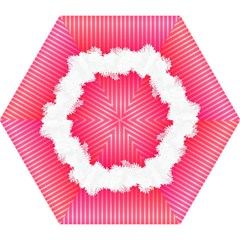 Digitally Designed Pink Stripe Background With Flowers And White Copyspace Mini Folding Umbrellas