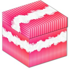 Digitally Designed Pink Stripe Background With Flowers And White Copyspace Storage Stool 12