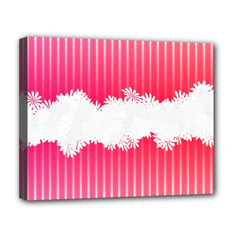 Digitally Designed Pink Stripe Background With Flowers And White Copyspace Deluxe Canvas 20  x 16