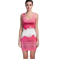 Digitally Designed Pink Stripe Background With Flowers And White Copyspace Sleeveless Bodycon Dress