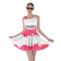 Digitally Designed Pink Stripe Background With Flowers And White Copyspace Skater Dress