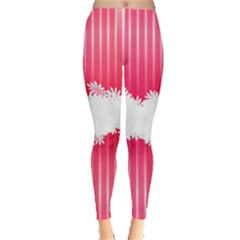 Digitally Designed Pink Stripe Background With Flowers And White Copyspace Leggings