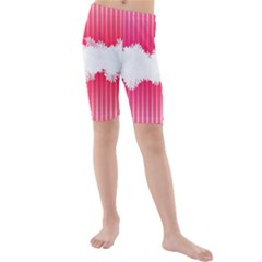 Digitally Designed Pink Stripe Background With Flowers And White Copyspace Kids  Mid Length Swim Shorts