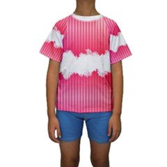 Digitally Designed Pink Stripe Background With Flowers And White Copyspace Kids  Short Sleeve Swimwear