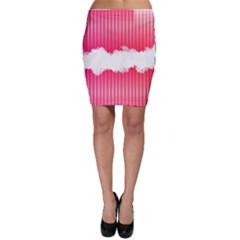 Digitally Designed Pink Stripe Background With Flowers And White Copyspace Bodycon Skirt