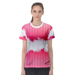 Digitally Designed Pink Stripe Background With Flowers And White Copyspace Women s Sport Mesh Tee