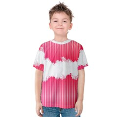 Digitally Designed Pink Stripe Background With Flowers And White Copyspace Kids  Cotton Tee