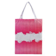 Digitally Designed Pink Stripe Background With Flowers And White Copyspace Classic Tote Bag