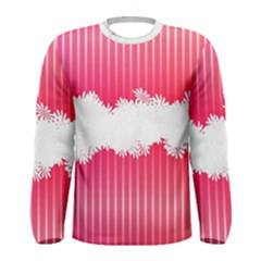 Digitally Designed Pink Stripe Background With Flowers And White Copyspace Men s Long Sleeve Tee