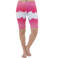 Digitally Designed Pink Stripe Background With Flowers And White Copyspace Cropped Leggings