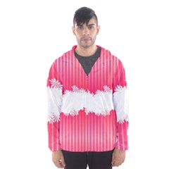 Digitally Designed Pink Stripe Background With Flowers And White Copyspace Hooded Wind Breaker (Men)