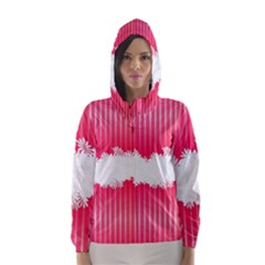 Digitally Designed Pink Stripe Background With Flowers And White Copyspace Hooded Wind Breaker (Women)