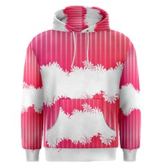 Digitally Designed Pink Stripe Background With Flowers And White Copyspace Men s Pullover Hoodie