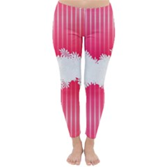 Digitally Designed Pink Stripe Background With Flowers And White Copyspace Classic Winter Leggings