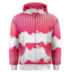 Digitally Designed Pink Stripe Background With Flowers And White Copyspace Men s Zipper Hoodie