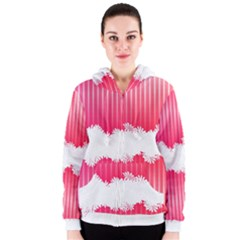 Digitally Designed Pink Stripe Background With Flowers And White Copyspace Women s Zipper Hoodie