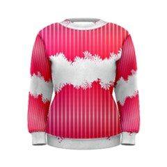 Digitally Designed Pink Stripe Background With Flowers And White Copyspace Women s Sweatshirt