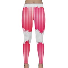 Digitally Designed Pink Stripe Background With Flowers And White Copyspace Classic Yoga Leggings