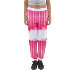 Digitally Designed Pink Stripe Background With Flowers And White Copyspace Women s Jogger Sweatpants