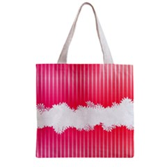 Digitally Designed Pink Stripe Background With Flowers And White Copyspace Zipper Grocery Tote Bag