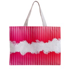 Digitally Designed Pink Stripe Background With Flowers And White Copyspace Zipper Mini Tote Bag