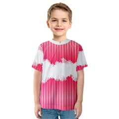 Digitally Designed Pink Stripe Background With Flowers And White Copyspace Kids  Sport Mesh Tee