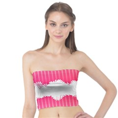Digitally Designed Pink Stripe Background With Flowers And White Copyspace Tube Top