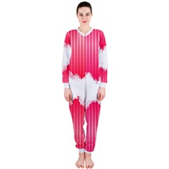 Digitally Designed Pink Stripe Background With Flowers And White Copyspace OnePiece Jumpsuit (Ladies)