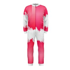 Digitally Designed Pink Stripe Background With Flowers And White Copyspace Onepiece Jumpsuit (kids)