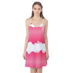 Digitally Designed Pink Stripe Background With Flowers And White Copyspace Camis Nightgown